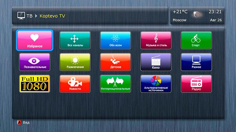 В появившемся списке категорий телеканалов выберите нужную и нажмите OK на пульте
