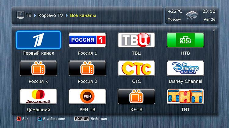 Появится список каналов выбранной группы