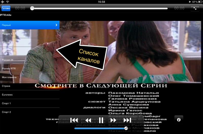 Список каналов находится в левой части экрана, он плохо заметен из-за своей прозрачности